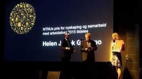Prisutdeling 2015, NTNUs pris for nyskaping og samarbeid med arbeidslivet. Foto: Hanne Siri Sund