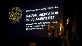 Prisutdeling 2015, NTNUs formidlingspris. Foto: Hanne Siri Sund